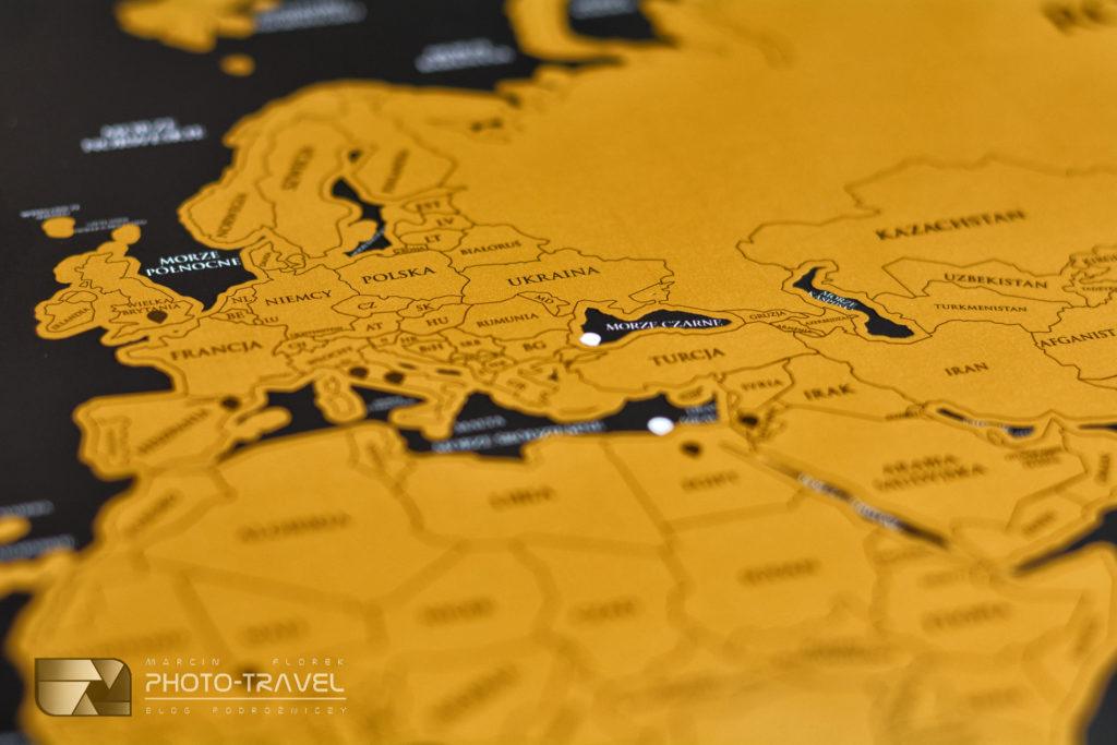 Mapa świata do zaznaczania miejsc