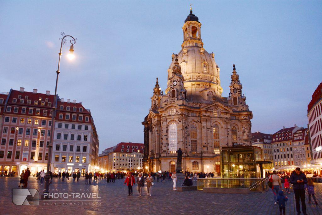 Drezno na weekend - Kościół Marii Panny (Frauenkirche) noca