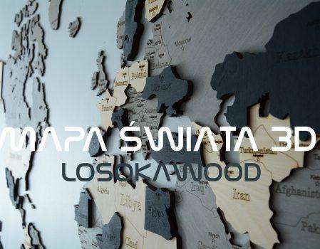 Drewniana mapa świata 3D na ścianę LosokaWood