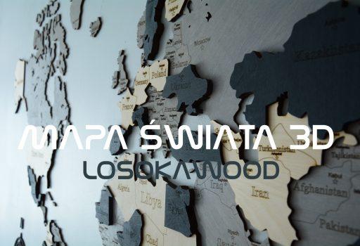 Drewniana mapa świata na ścianę 3D LosokaWood